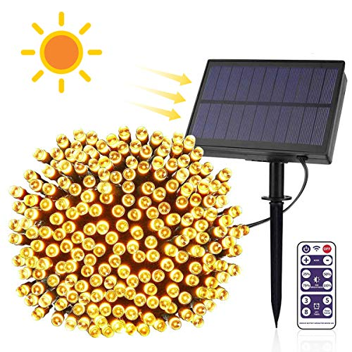 E-More Luces Exterior, Guirnalda Luces Exterior Solar, LED Solar Jardin 65.6ft 200LED Blanco Cálido, 8 Modos de Luz, Decoración para Navidad, Fiestas, Bodas, Patio, Dormitorio Jardines, Festivales