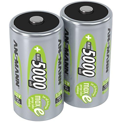 ANSMANN Akku D 5000 mAh NiMH 1,2 V (2 Stück) - Mono D Batterien wiederaufladbar, maxE geringe Selbstentladung für jahrelangen Einsatz