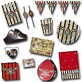Palandi Piratenparty Set D roter Pirat mit 88 Teilen für den Kindergeburtstag oder die Mottoparty Sticker