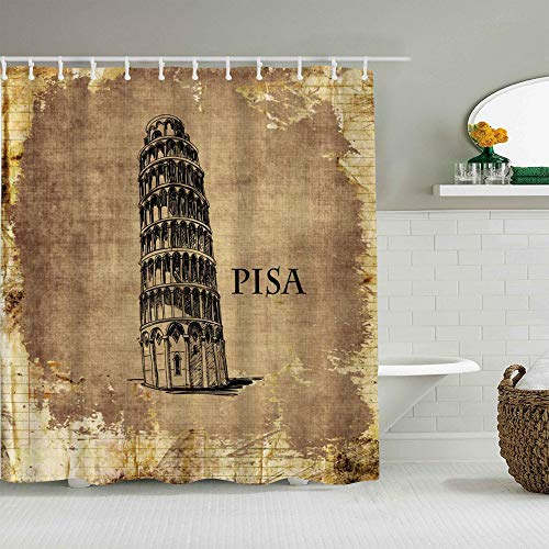 JIOLK Polyester Fabric Shower Curtain Set with 12 Plastic Hooks waterproof Bath Curtains,Pisa Leaning Tower Nostalgic Landmark Building vintage waterproof Urban Style,72x72 inches