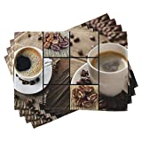 Brown Placemats Set of 4, Coffee Themed Collage Close Up Mugs Beans On Wooden Table Aromatic Roasted Espresso Drink Brown Dinning Table Mats Large Table Mats For Kitchen Farmhouse Gift