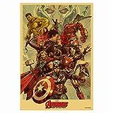 N/P Marvel Films Avengers Iron Man Captain America Vintage Style Affiche Hight Qualité Home Decor Wall Art Toile Peinture 40 * 60 cm sans Cadre