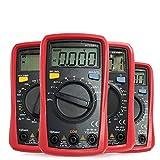 L.J.JZDY Multi Tester Multímetro Multímetro AC DC Voltímetro Amperímetro Ohmímetro Tester Auto Rango Resistencia Capacitancia Temperatura NCV Prueba Luz de Fondo (Color : Rojo, Size : UT33C)