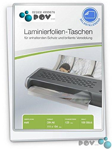 POV® Laminierfolien A6 (111 x 154 mm), 2 x 125 mic, matt, mit selbstkl. Rückseite, Verpackungseinheit: 100 Stück