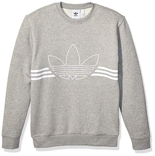 adidas Originals Herren Outline Fleece Crewneck Sweatshirt Pullover, Medium Grau meliert, Small