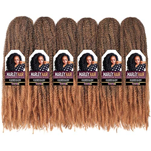Toyo Tress Ombre Blonde Marley Hair For Twists 18 Inch 6packs Long Afro Marley Braid Hair Synthetic Fiber Marley Braiding Hair Extensions (18', T27)