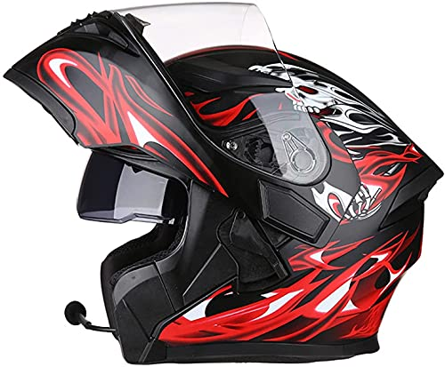 HSWYJJPFB Casco Bluetooth de Motocross de Cara Completa 1500 G Cubierta de Lluvia Plegable Cubierta de Lluvia Doble Visera Modular Casco de Motocicleta MTB Antiniebla ECE/Dot M-3XL Motorbike Helmet