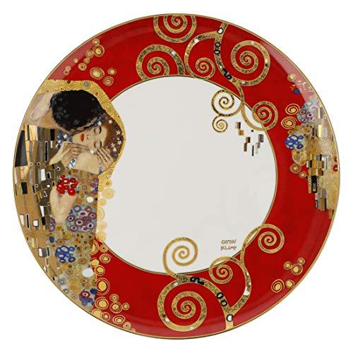 Goebel Artis Orbis Klimt Xmas Der Kuss Rot - Teller Neuheit 2020 67025041 und 4er Set EKM Living Edelstahl Strohhalme