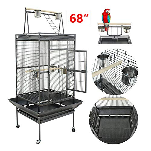 Nova Microdermabrasion 61/68 Inches Large Bird Cage Play Top Parrot Cockatiel Parakeet Chinchilla Macaw Cockatoo Cage W/Stand Perch Pet Supplies