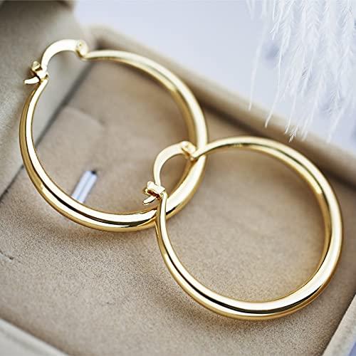 LIEQUAN Pendientes de círculo Grande Brillantes Simples de Moda(Amarillo)