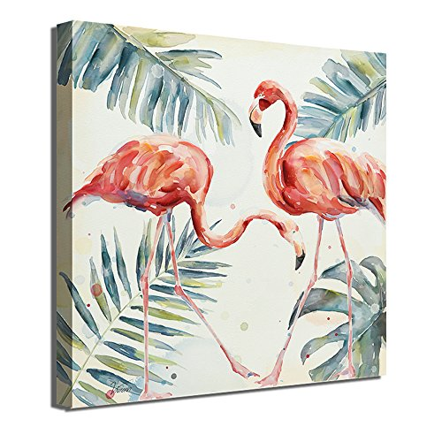 Crescent Art Framed Watercolor Tropical Wildlife Animal Pink Flamingo Bird Painting on Canvas Print Picture Wall Art for Living Room Wall Decoration Home Accent (24 x 24 inch, B Framed)