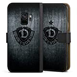 Klapphülle kompatibel mit Samsung Galaxy S9 Handyhülle aus Leder schwarz Flip Hülle SG Dynamo Dresden Offizielles Lizenzprodukt Vintage