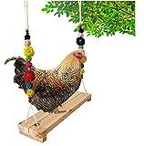 ZXCVB Soporte de Percha de Pollo, Soporte de Madera de Pollo Colgante Soporte de Percha de pájaro Columpio de Pollo Juguete para gallinas Entrenamiento de Loros de Aves
