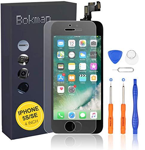 bokman Écran Tactile LCD pour iPhone 5s/Se Noir Vitre LCD Ecran Assemblé avec Capteur de Proximité, Écouteur, Caméra Frontale et Kit de Réparation