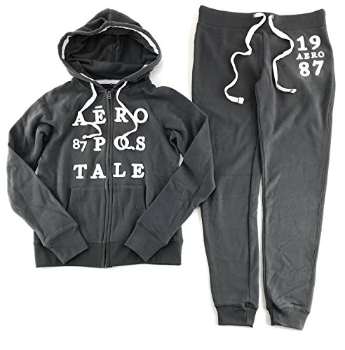 Aeropostale Women's Hoodie and Sweat Pants Set Dark Gray XX-Large