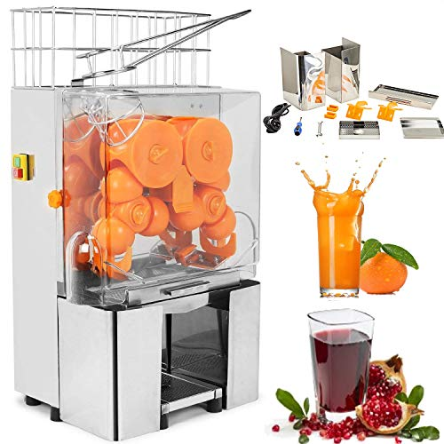 VEVOR 110V Electric Orange Juicer Commercial Squeezer Machine Lemon Automatic Auto Feed Perfect for Drink Bar and Home Supermarkets, 22-30 Per Minute, 304 Stainless Steel Tank and PC Cover