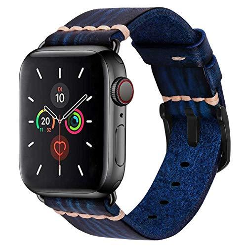 MroTech 44mm 42mm Leren armband vervanging voor 44 mm iWatch Armband Series 5/4 42 mm Series 3/2/1 Reserveband Horlogeband Bands Armbanden echt Leder Watchband Heren Horloge Bracelets-Blauw 44mm/42mm