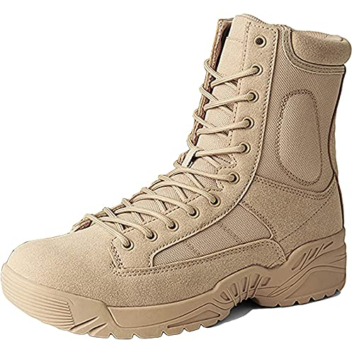 Military Boots Mens Waterproof Military Tactical Boots High-Top Lace-up Army Patrol Boot Lightweight Breathable Outdoor Camping Hiking Desert Combat Boot Safety Work Shoes