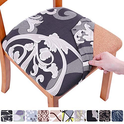 Homaxy Stretch Stuhlbezug Sitzfläche Weich Sitzbezug Stuhl Abwaschbar sitzbezüge für Esszimmerstühle Abnehmbar Stuhlhussen für Esszimmer- 4er Set, Black floral