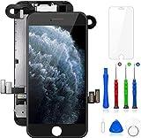 FLYLINKTECH écran pour iPhone 7 Noir 4.7' LCD de Remplacement Complet - préassemblés LCD avec capteur de proximité, caméra Frontale, écouteur et Plaque arrière en métal Kit d'outils de réparation