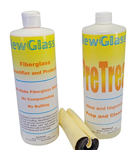 New Glass 2 - Fiberglass Cleaner & Wipe On Shine Restorer - Lasts Over 12 Months - 2 Easy Steps - Complete Kit - Clean Surface and Wipe on the Shine - Make Your Boat, RV or Yacht Shine Like New - No Buffing, No Compounding, No Rubbing, No Polishing and No Waxing. Clean Surface and Wipe on the Best Shine. Fiberglass Beautifier in a Bottle.