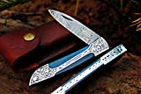 DKC Knives (14 5/18) DKC-37-BLH Victorian Damascus Folding Pocket Knife Blue Bone 7.75' Long, 4.5' Folded 3' Blade 4.8oz Hand Made Incredible Look and Feel