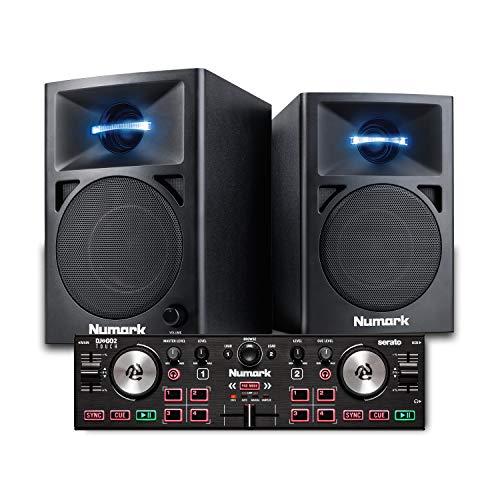Numark DJ2GO2 Touch + N-Wave 360-2-Deck USB DJ-Controller für Serato DJ mit Mixer/Crossfader + 60Watt Full Range-Desktop-Monitore für DJs mit LED-Beleuchtung