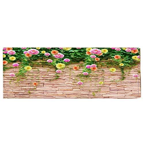 Tapijt, antislipmat Vloermat, Flanel Materiaal Home Decor Bloempatroon Stoel Tapijten Keukenmat voor Appartement Badkamer(60cm×180cm)