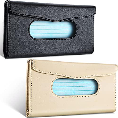 2 Pieces Car Tissue Holder Sun Visor Napkin Holder Pu Leather Tissue Box Holder Car Visor Tissue Storage Cases for Universal Cars (Black, Beige)