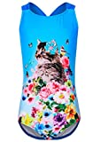 DUSISHIDAN BademodeKinderMädchen, Blaue Katzen Badeanzüge Mädchen 134-146 M(8-10)