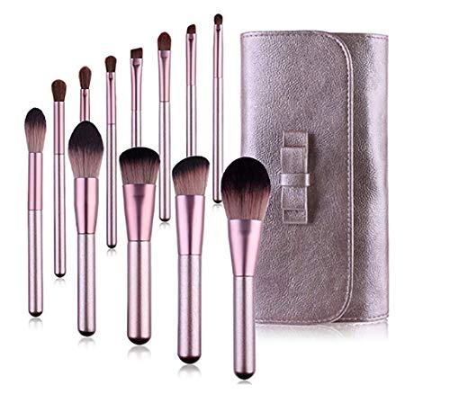 YMZ Lot de 12 pinceaux de maquillage professionnels synthétiques ultra doux pour fond de teint, correcteur, poudre, poudre, organisateur de maquillage Violet