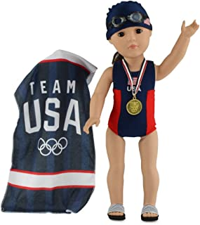 """Emily Rose 18 Inch Doll Clothes   6-Piece Team USA 18"""" Doll Bathing Suit and Accessories Set, Including Olympic Gold Medal..."""