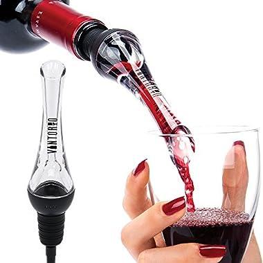 Vintorio Wine Aerator Pourer - Premium Aerating Pourer and Decanter Spout (Black)