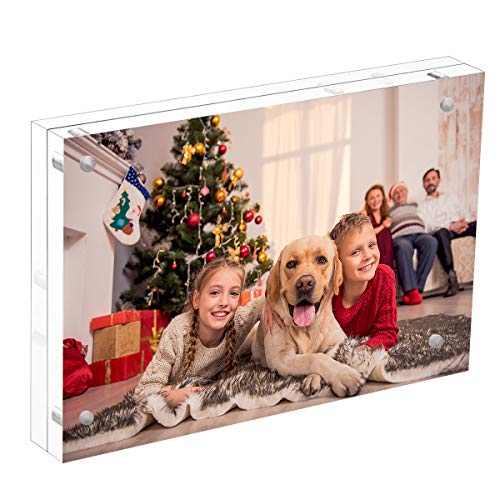 NIUBEE Acrylic Photo Frame 4x6 Gift Box Package, Clear Free Standing Desktop Double Sided Magnetic Picture Display