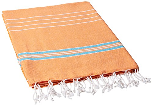 Cacala Pestemal Turkish Bath Towels Striped for Beach Sauna Luxury Peshtemal 37x70 Orange-Turquoise (Multi-PES-Paradise-ORANGETURQUOISE)