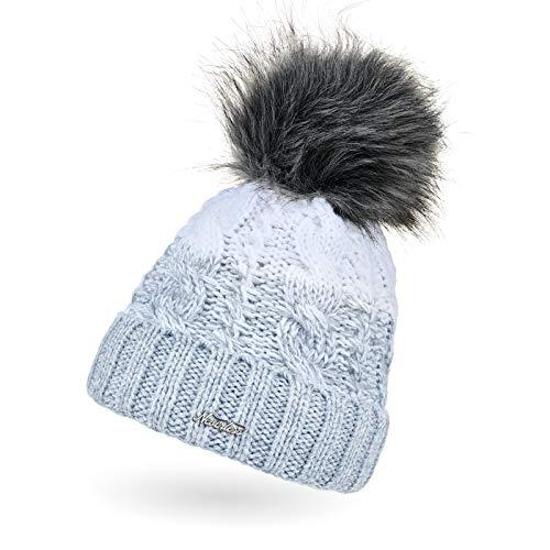 Neverless® Damen Strick-Mütze gefüttert Fleece-Innenfutter Fell-Bommel Kunstfell Winter-Mütze Bommelmütze Zopfmuster Mehrfarbig Umschlag hellblau-weiß