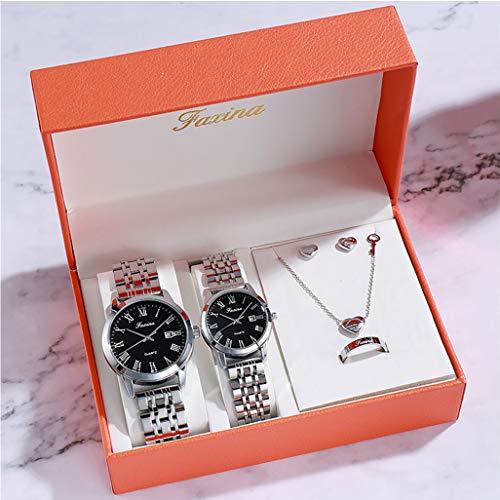PIANAI Reloj de los Amantes/cinturón de Acero Impermeable Reloj de Cuarzo con Doble Calendario/Reloj Retro/un par de Reloj Femenino Simple Reloj Masculino,B