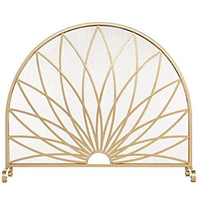 MyGift Art Deco Starburst Style Brass-Tone Metal Freestanding Fireplace Screen by MyGift