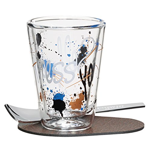Ritzenhoff A Cuppa Day Espressoglas, Glas, schwarz/braun/weiß/blau, 5.7 cm