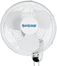 HURRICANE HGC736503 Classic Series Oscillating Wall Mount Fan, 16-Inch, White