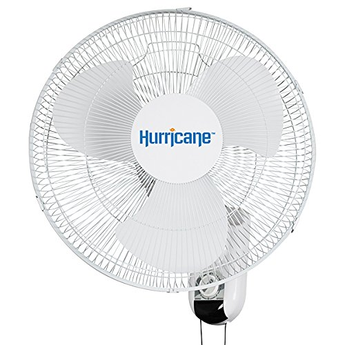 Hurricane HGC736503 Wall Mount Fan 16 Inch, Classic Series, 90 Degree Oscillation 3 Speed Settings, Adjustable Tilt-ETL Listed, 16-Inch, White