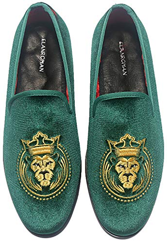 ELANROMAN Loafers für Herren Samt Schuhe der Mode bestickt 1.0 und 2.0 Party Hochzeit Abschlussball Schuhe, Grün (olivgrün), 46 EU