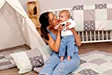 ULLENBOOM ® Betthimmel Baby 135x200 cm Rosa Grau (Made in EU) - Babybett Baldachin aus ÖkoTex Baumwolle, für 60x120 cm & 70x140 cm Kinderbett, Motiv: Punkte, Sterne, Waldtiere, Patchwork - 4