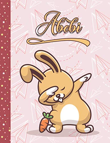 Abebi: Perfect Personalized Dabbing Rabbit Sketchbook & Notebook gift for Abebi | Best Birthday Diary Gift Idea for girls | 8.5x11 Size & 100 ... + 50 Wide Ruled Composition Notebook pages