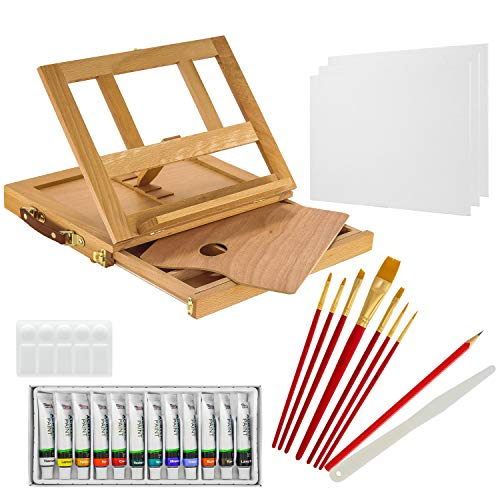 US Art Supply Wood Easel Box Set with 12 Colors, Canvas, 2-Brushes, 3-Canvas Panels, Plastic Palette & Palette Knives