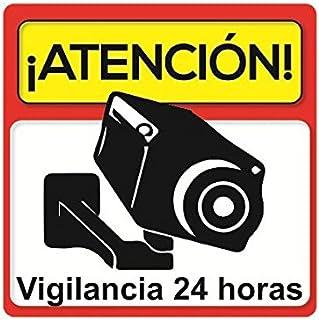 Pegatina disuasoria atención vigilancia 24 horas alarma conectada Vinilo decorativo Apto uso exterior Cartel camara vigilancia