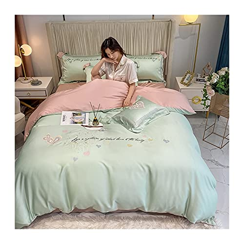 ADSE Satin/Sateen Quilt/Duvet Cover Sheet Set 4-Pieces Summer Ice Silky Silky Silk Lyocell Fiber Bedding Set with Fitted Sheets Silky Cool Full/Queen King Twin Double