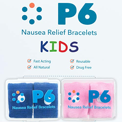 P6 Health Original Natural Anti-Nausea Relief Motion Car Sea Sickness Relief Children's Wrist Bands for Kids (2 Pack, Pink - Royal Blue)