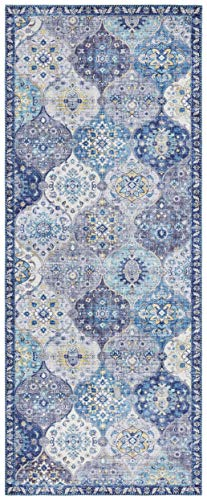 Elle Decor Alfombra de diseño Oriental Kashmir Ghom (80 x 200 cm, 100% poliéster, Apta para calefacción por Suelo Radiante, Robusta, fácil Limpieza), Color Azul Vaquero