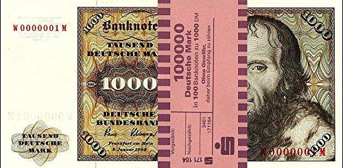 *** 100 x 1000 DM, Deutsche Mark, Geldscheine 1980, mit Banderole - Reproduktion ***